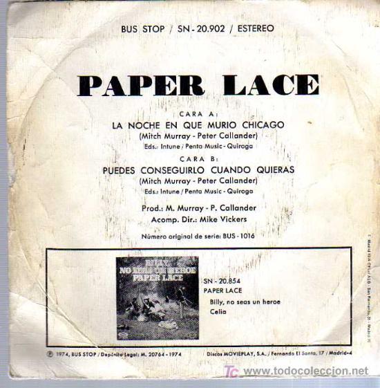 Discos de vinilo: SINGLE - PAPER LACE - LA NOCHE QUE MURIÓ CHICAGO - Foto 2 - 12859065