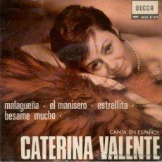 Discos de vinilo: CATERINA VALENTE - CANTA EN ESPAÑOL - MALAGUEÑA - EL MANISERO ETC, - EP SINGLE 1966. Lote 27207800