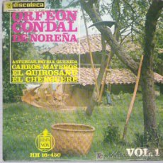Discos de vinilo: ORFEON CONDAL DE NOREÑA - EL QUIROSANU ** EP CANCIONES ASTURIASNAS Nº1 HISPAVOX 1963. Lote 13072894