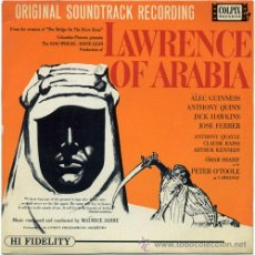 Discos de vinilo: MAURICE JARRE - LAWRENCE OF ARABIA (BSO) – EP UK 1963 – COLPIX PXE300. Lote 19795500