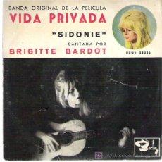 Discos de vinilo: BRIGITTE BARDOT - SIDONIE *** EP BARCLAY 1962 ULTRARARO PARA COLECCIONISTAS. Lote 19299199