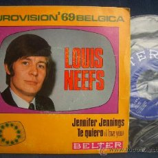 Discos de vinilo: LOUIS NEEFS: EUROVISION 69 BELGICA, SINGLE 1969 BELTER 07.547 A ESTRENAR. Lote 13470445