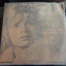 Discos de vinilo: SEVERINE '1ER GRAND PRIX EUROVISION 1971' (UN BANC,UN ARBRE,UNE RUE - VIENS) 1971 SINGLE45 . Lote 13485741