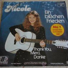 Discos de vinilo: NICOLE ' Nº1 GRAND PRIX EUROVISION 1982 ' ( EIN BISSCHEN FRIEDEN - THANK YOU,MERCI,DANKE ) . Lote 13487666