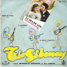 Discos de vinil: TRIO SIBONEY CON MANOLO GARCIA Y SU RITMO *** EL DIA DE LOS ENAMORADOS *** HISPAVOX EP 1959. Lote 17880260