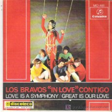 Discos de vinilo: LOS BRAVOS - IN LOVE / GREAT IS YOUR LOVE ** COLUMBIA 1968 SPANISH FREAKBEAT. Lote 16531353