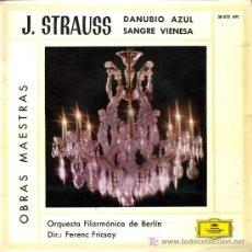 Discos de vinilo: ORQUESTA FILARMÓNICA DE BERLÍN. DIR. FERENC FRICSAY - DANUBIO AZUL / SANGRE VIENESA - SINGLE 1960. Lote 13732576