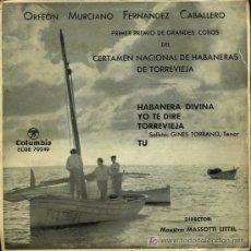 Discos de vinilo: ORFEON MURCIANO FERNÁNDEZ CABALLERO - HABANERA DIVINA / TORREVIEJA / TU - EP. Lote 13733192