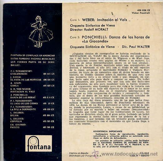 Discos de vinilo: ORQUESTA SINFONICA DE VIENA / Temas (ver foto) EP FONTANA 1962 - Foto 2 - 13773261