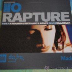 Discos de vinilo: IIO RAPTURE ( CREAMER & STEPHANE K.REMIX - RIVA REMIX ) ENGLAND - 2001 MAXI DATA RECORDS. Lote 166847948