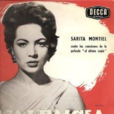 Discos de vinilo: SARITA MONTIEL 10¨ (25 CTMS.) SELLO DECCA EDITADO EN FRANCIA. DEL FILM EL ULTIMO CUPLE. Lote 14064686