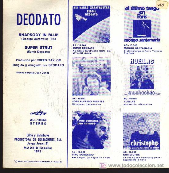 Discos de vinilo: SINGLE - EUMIR DEODATO - RHAPSODY IN BLUE - Foto 2 - 14194468