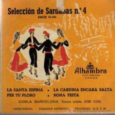 Discos de vinilo: SINGLE - SELECCIÓN DE SARDANAS Nº 4 - COBLA BARCELONA. Lote 19329793