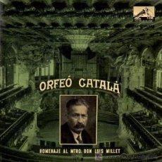 Discos de vinilo: SINGLE - HOMENAJE AL MTRO. DON LUIS MILLET Nº 2 - ORFEÓ CATALÀ. Lote 14172531