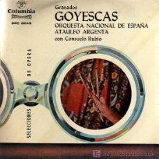 Discos de vinilo: SINGLE - GOYESCAS (GRANADOS) - ORQUESTA NACIONAL DE ESPAÑA / ATAULFO ARGENTA / CONSUELO RUBIO. Lote 14181129