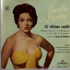 Discos de vinilo: SINGLE - SARITA MONTIEL - EL ÚLTIMO CUPLE - NENA / BALANCE, BALANCE.... Lote 19329802