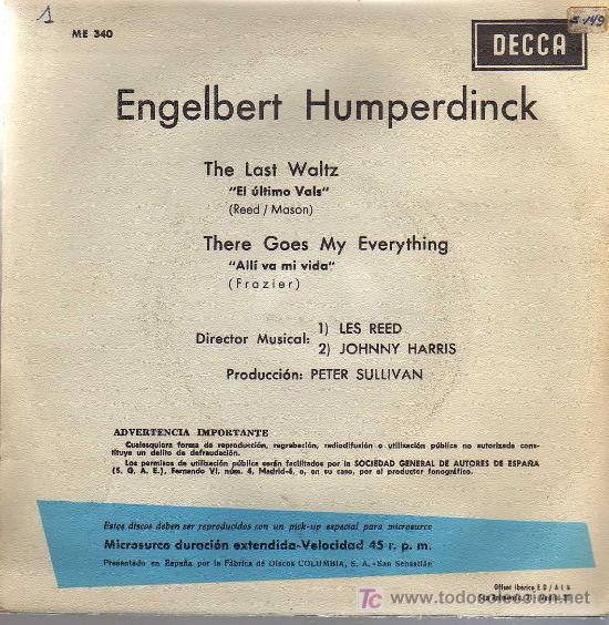Discos de vinilo: SINGLE - ENGELBERT HUMPERDINK - THE LAST WALTZ - Foto 2 - 19329790