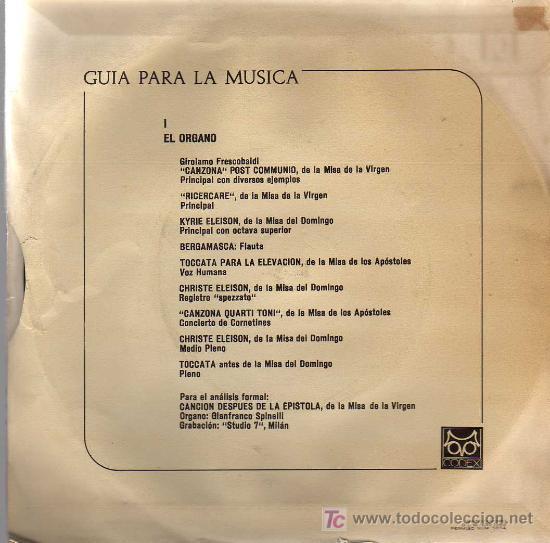 Discos de vinilo: SINGLE - GUIA PARA LA MÚSICA 1 - EL ORGANO - Foto 2 - 14181159