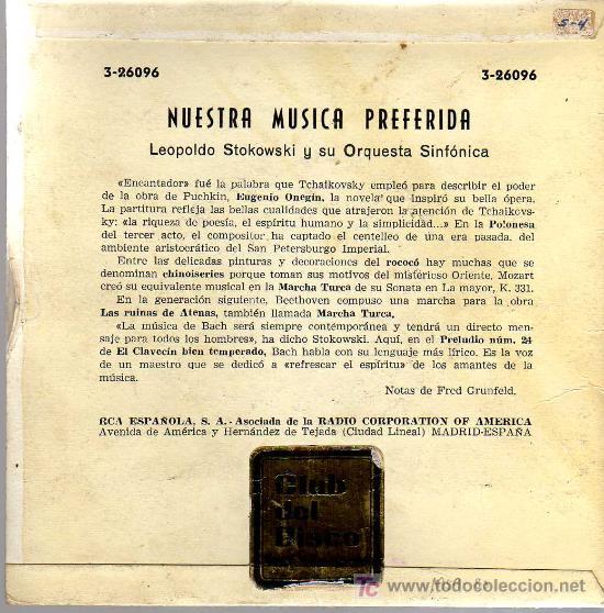 Discos de vinilo: SINGLE - LEOPOLDO STOKOWSKI Y SU ORQUESTA - BEETHOVEN / MOZART / TCHAIKOVSKY / BACH - Foto 2 - 14181138