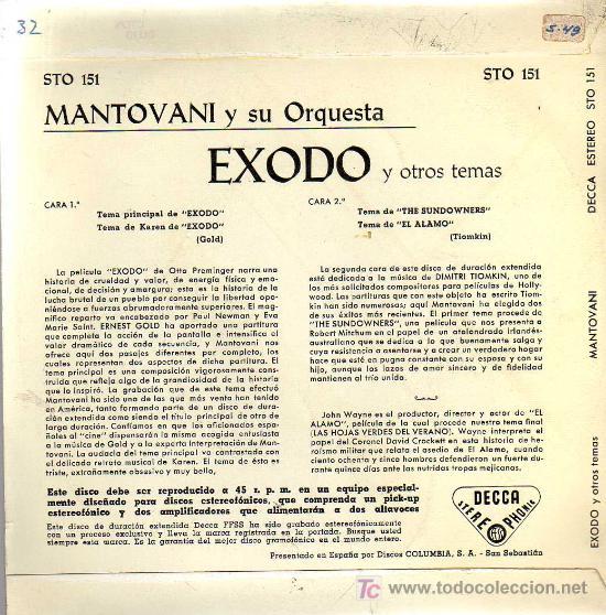 Discos de vinilo: SINGLE - MANTOVANI Y SU ORQUESTA - EXODO Y OTROS TEMAS - Foto 2 - 23880802