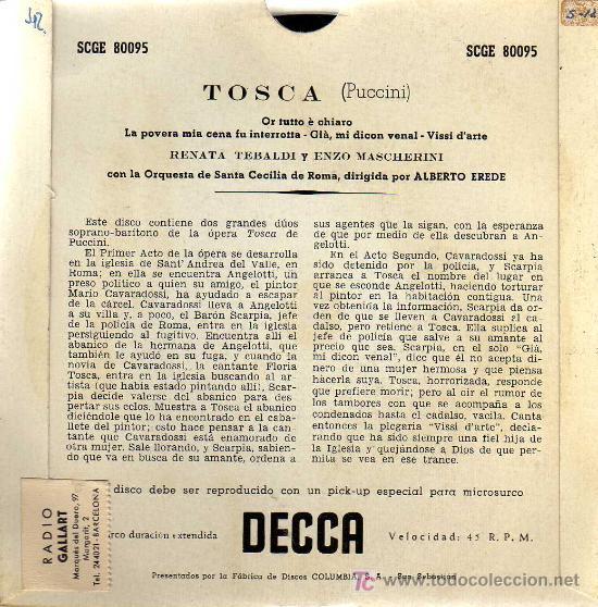 Discos de vinilo: SINGLE - TOSCA (PUCCINI) - RENATA TEBALDI & ENZO MASCHERINI / ST CECILIA ORCH. ROMA - Foto 2 - 14181128