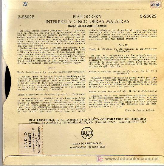 Discos de vinilo: SINGLE - PIATIGORSKY PLAYS FIVE ENCORES - GRANADOS, RUBINSTEIN, SAINT SAENS, SCHUBERT, TCHAIKOVSKY - Foto 2 - 137368810