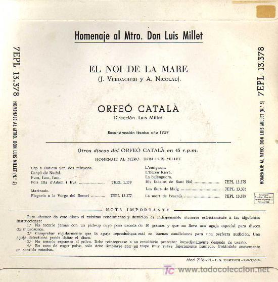 Discos de vinilo: SINGLE - HOMENAJE AL MTRO. DON LUIS MILLET Nº 5 - ORFEÓ CATALÀ - Foto 2 - 14172600