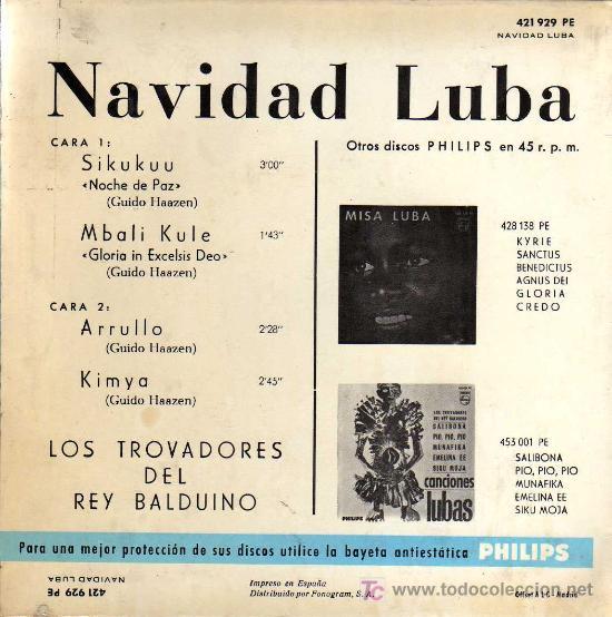 Discos de vinilo: SINGLE - NAVIDAD LUBA - LOS TROVADORES DEL REY BALDUINO - Foto 2 - 14171830