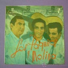 Discos de vinilo: SINGLE DE FLAMENCO, LOS PAQUIROS Y MOLINA, 4 CANCIONES 1959. Lote 27229946