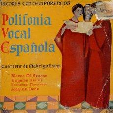 Discos de vinilo: POLIFONIA VOCAL ESPAÑOLA - CUARTETO DE MADRIGALISTAS (EP 58). Lote 14399885
