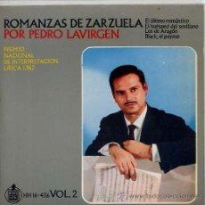 Discos de vinilo: ROMANZAS DE ZARZUELAS - PEDRO LAVIRGEN (EP HISPAVOX) TEMAS EN PORTADA. Lote 14401032