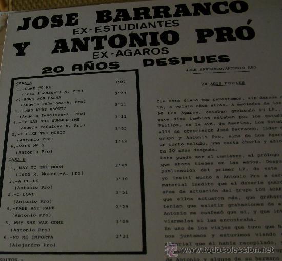 Discos de vinilo: MUSICA GOYO - LP - Jose Barranco (Estudiantes) y Antonio Pro (Agaros) - Leer *BB99 - Foto 2 - 33348600