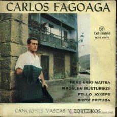 Discos de vinilo: CARLOS FAGOAGA - NERE ERRI MAITEA / MADALEN BUSTURIKO / PELLO JOXEPE / BIOTZ ERITUBA - SINGLE 1963. Lote 14811137