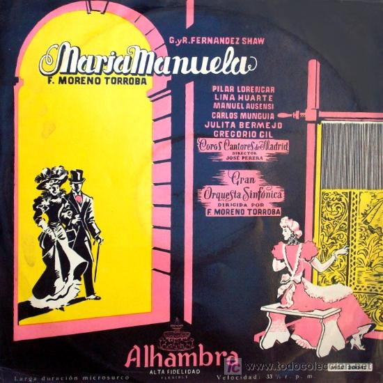 LP. MARÍA MANUELA, COMPUESTA Y DIRIGIDA POR MORENO TORROBA. PILAR LORENGAR,LINA HUARTE,MANUEL AUSENS (Música - Discos - LP Vinilo - Clásica, Ópera, Zarzuela y Marchas)