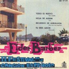 Discos de vinilo: ELDER BARBER EP FESTIVAL DE BENIDORM 1960 HH 17-141 1960 SPA VINILO Y CARATULA . Lote 24091562