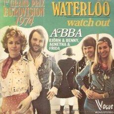Discos de vinilo: ABBA FESTIVAL DE EUROVISION AÑO 1974 SINGLE SELLO VOGUE EDITADO EN FRANCIA. Lote 15120924
