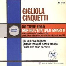 Discos de vinilo: GIGLIOLA CINQUETTI FESTIVAL DE EUROVISION AÑO 1964 EP SELLO HISPAVOX . Lote 15155887