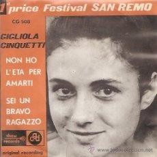 Discos de vinilo: GIGLIOLA CINQUETTI FESTIVAL DE EUROVISION AÑO 1964 SINGLE SELLO CDG EDITADO EN BELGICA. Lote 15155902