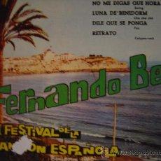 Discos de vinilo: FERNANDO BELL, I I FESTIVAL DE LA CANCION ESPAÑOLA, BENIDOMR 1960. Lote 24183921