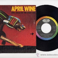 Discos de vinilo: APRIL WINE.SINGLE 45 PROMOCIONAL.THIS COULD BE THE RIGHT ONE+REALLY DONT WANT YOUR LOVE.CAPITOL 1984. Lote 27441438