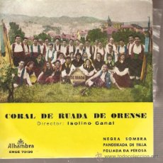 Discos de vinilo: EP GALICIA FOLK : CORAL RUADA DE ORENSE - NEGRA SOMBRA + PANDEIRADA DE TELLA + FOLIADA DA PEROSA. Lote 25100623