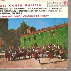 Discos de vinilo: EP GALICIA FOLK : CANTIGAS DA TERRA - MENEO DE PANDEIRO DE CARBALLERO + 3. Lote 25122359