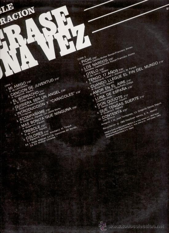 Discos de vinilo: ERASE UNA VEZ - LA CANCIONES DE LAS PRIMERAS PELICULAS DE ROCIO DURCAL - LP - Foto 2 - 27530412