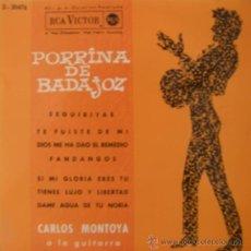 Discos de vinilo: PORRINA DE BADAJOZ (CON CARLOS MONTOYA A LA GUITARRA) - 1962. Lote 27614653