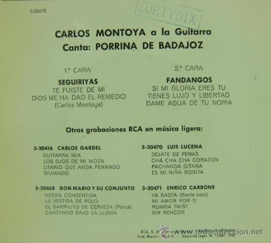 Discos de vinilo: PORRINA DE BADAJOZ (CON CARLOS MONTOYA A LA GUITARRA) - 1962 - Foto 2 - 27614653