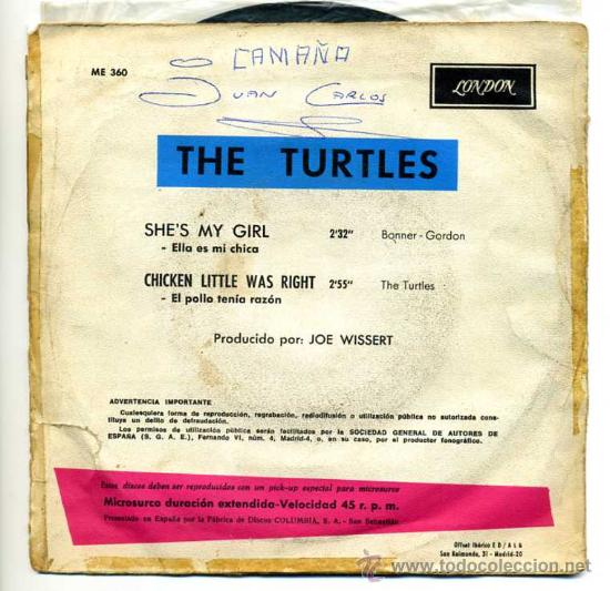 Discos de vinilo: the turtles - london -1967 ,shes my girl, chicken little was right - Foto 2 - 26379675