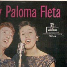 Discos de vinilo: ELIA Y PALOMA FLETA (HERMANAS FLETA) LP SELLO MONTILLA EDICCIÓN AMERICANA. Lote 16220001