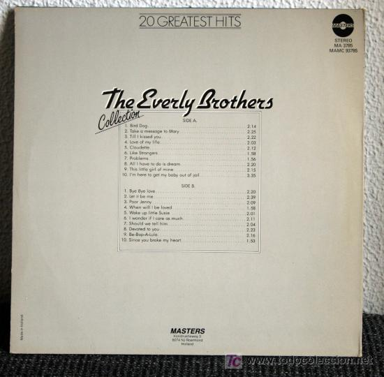 Discos de vinilo: THE EVERLY BROTHERS COLLECTION - 20 GREATEST HITS - LP - Foto 2 - 26520011