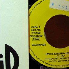 Discos de vinilo: SINGLE PROMOCIONAL, LETI RAP, LETICIA SABATER, DID, ESPAÑA, 1992, REFERENCIA: DID1003/6B. Lote 16501713