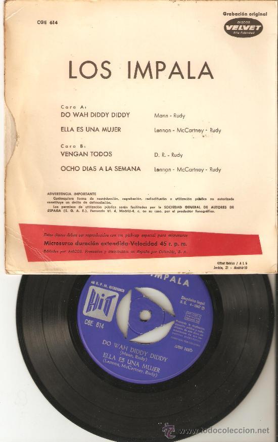 Discos de vinilo: los impala.discos velvet.hit 1967.versiones beatles. - Foto 2 - 26607349